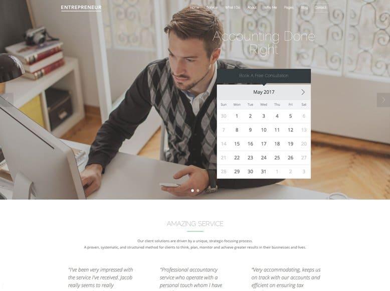 Entrepreneur - Plantilla WordPress para profesores de clases particulares