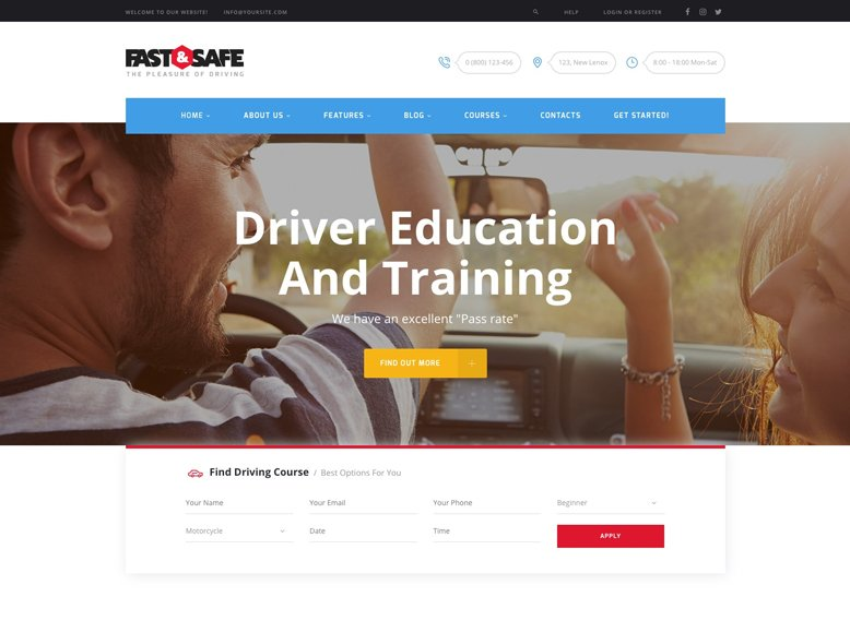 Fast & Safe - Plantilla WordPress para escuelas de conducción y autoescuelas