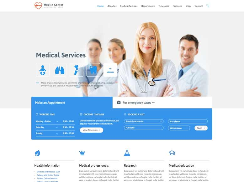 Medical Health - Plantilla WordPress para centros de salud y médicos