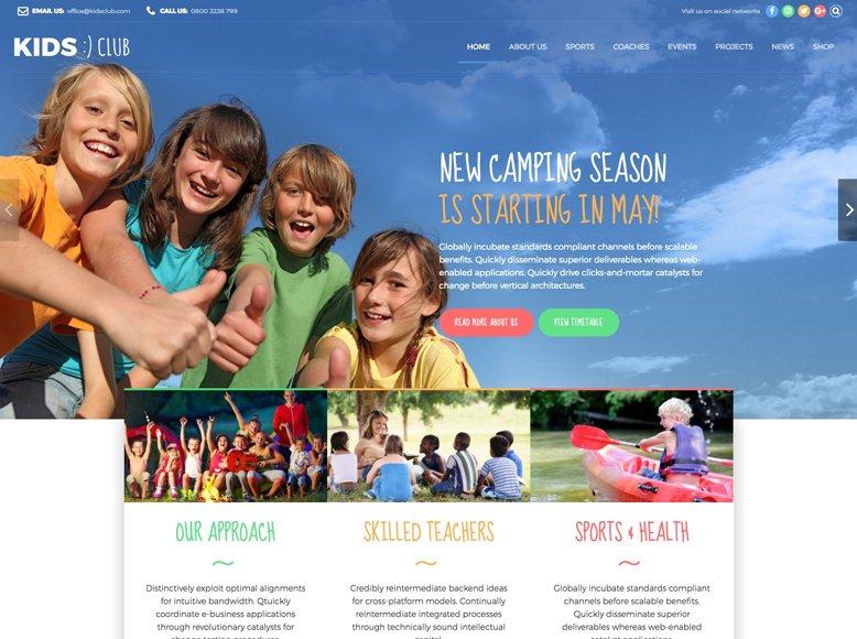 Kids Club - Tema WordPress para guarderías, campamentos de verano y preescolar