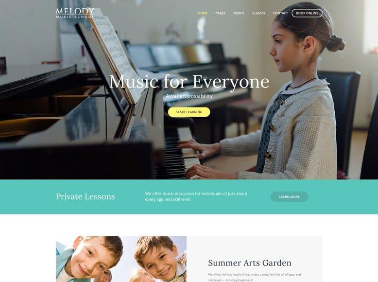 Melody - Tema WordPress para escuelas de música y canto