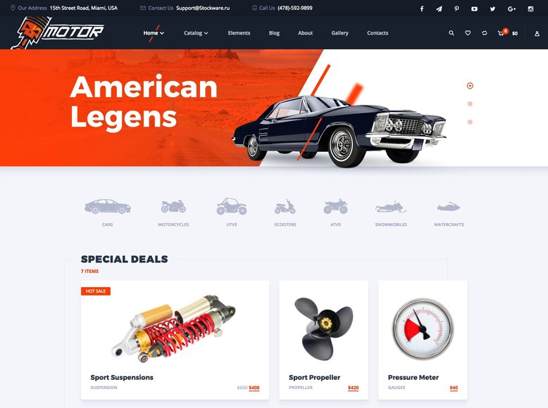 Motor - Plantilla WordPress para tiendas online de venta de coches, repuestos de automóviles y motos