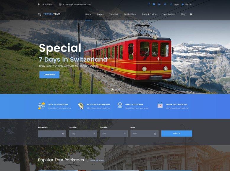 Travel Tour - Plantilla WordPress para empresas tour operadores y operadores turísticos