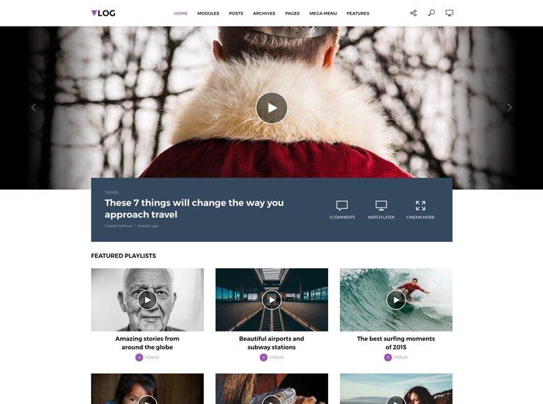 Vlog - Plantilla WordPress para blogs de vídeos y vlogs modernos
