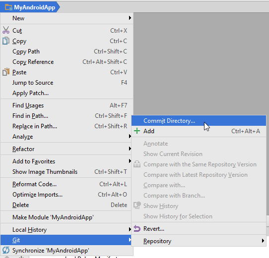 Commit Directory option in Android Studio.