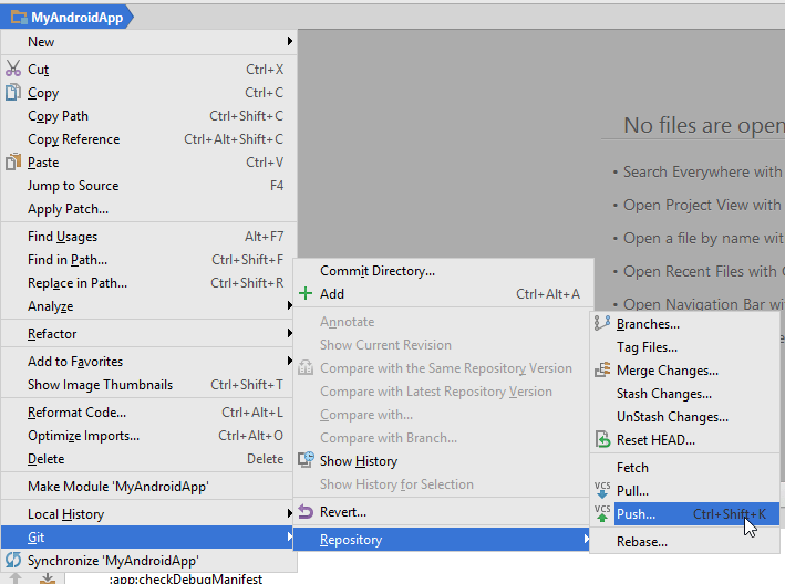 Selecting Git push in Android Studio