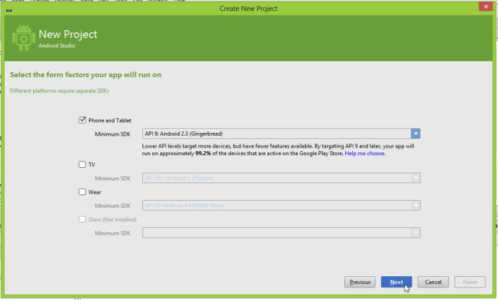 "Android Studio ""Select the form factors your app will run on"" screen"
