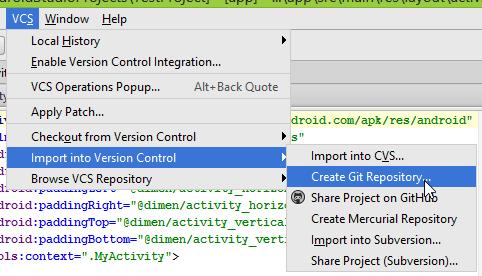 "Android Studio ""Create Git Repository"" option."