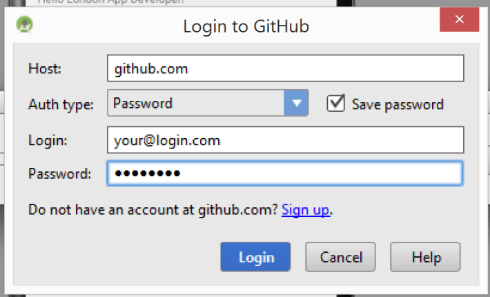 GitHub Login in Android Studio 1.x Screenshot
