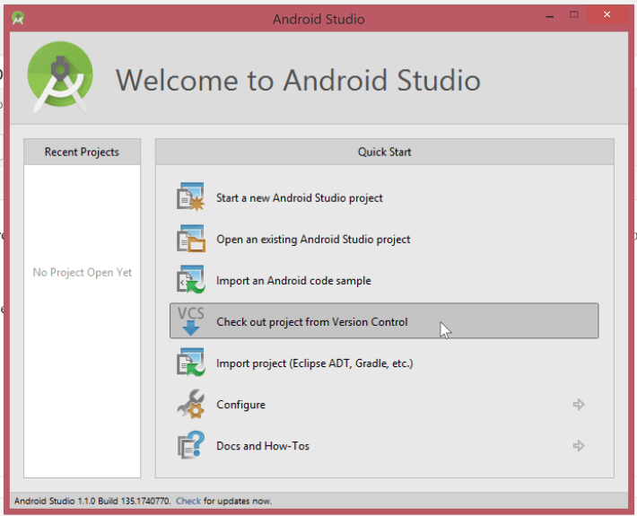 Android Studio 1.x welcome screen checkout option