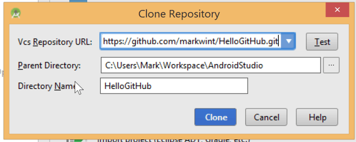 Android Studio clone repository form