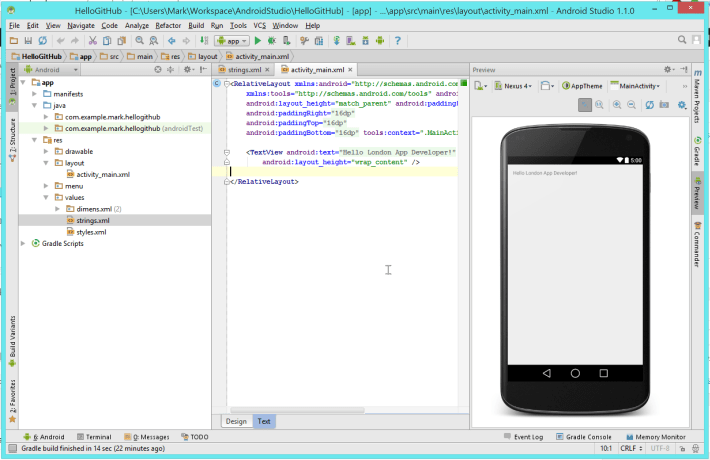 Android Studio hello world text modified to read 'Hello London App Developer'
