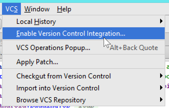Android Studio enable Version Control Integration option