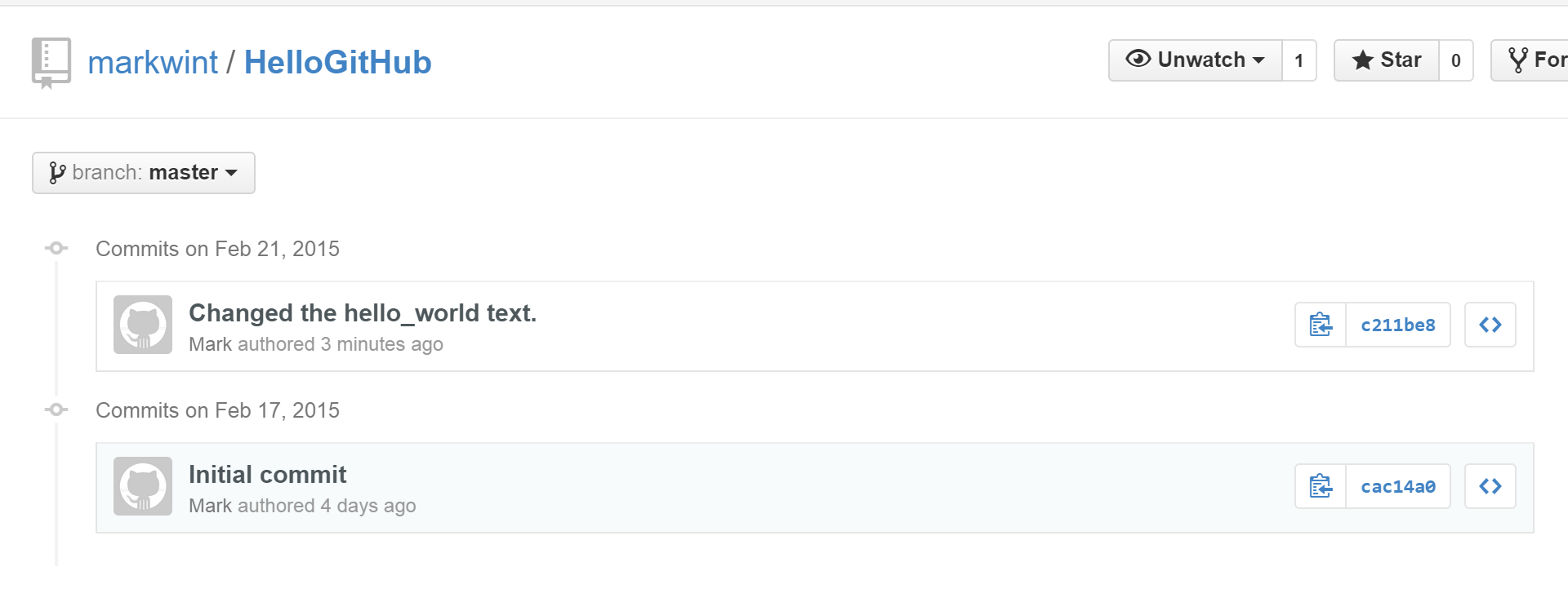 GitHub Commits page