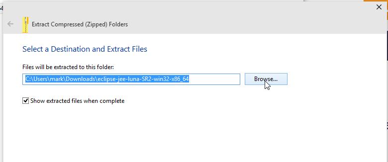 Extra files location screenshot