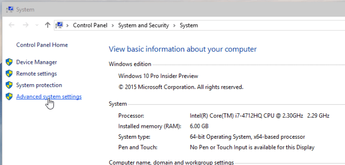 Windows 10 System Screenshot
