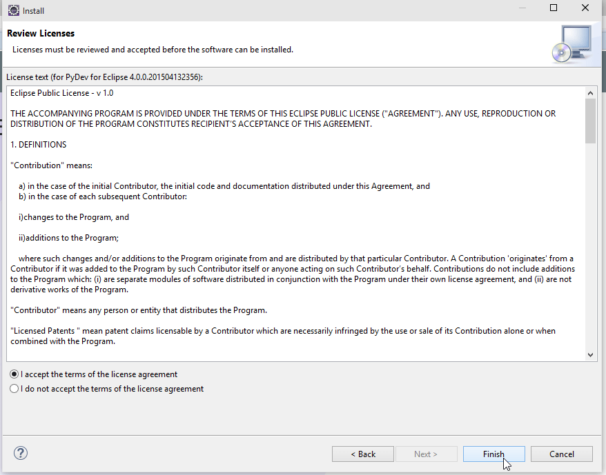 Eclipse Install Software License Agreement Screenshot