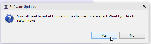 Restart Eclipse Screenshot
