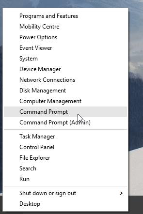 Windows 10 Command Prompt Option Screenshot
