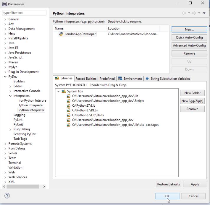 Windows 10 Eclipse Python Interpreters Screenshot