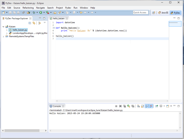 Windows 10 Python Eclipse Final Hello World Screenshot