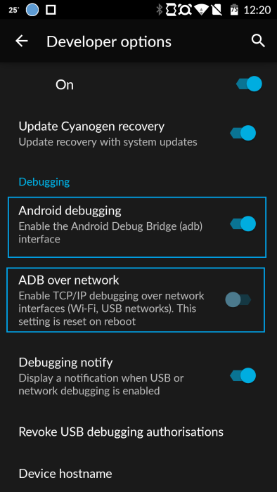 OnePlus One Android Debugging