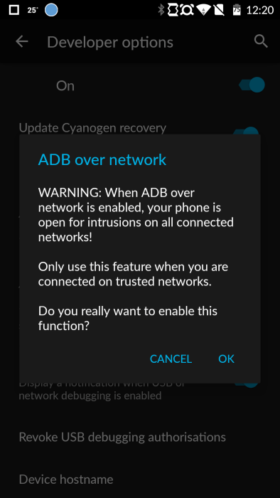 OnePlus One Android ADB over network warning