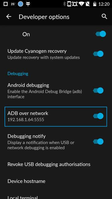 OnePlus One Android ADB over network IP address