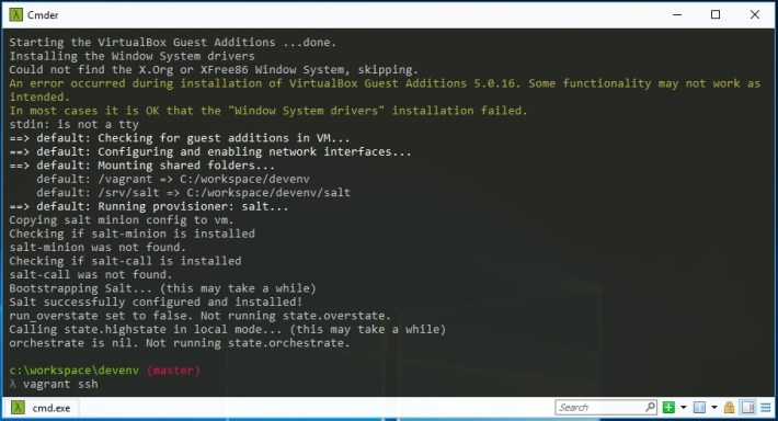 Command Line Vagrant Up