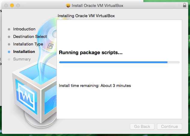 Installing Oracle VM VirtualBox Screenshot