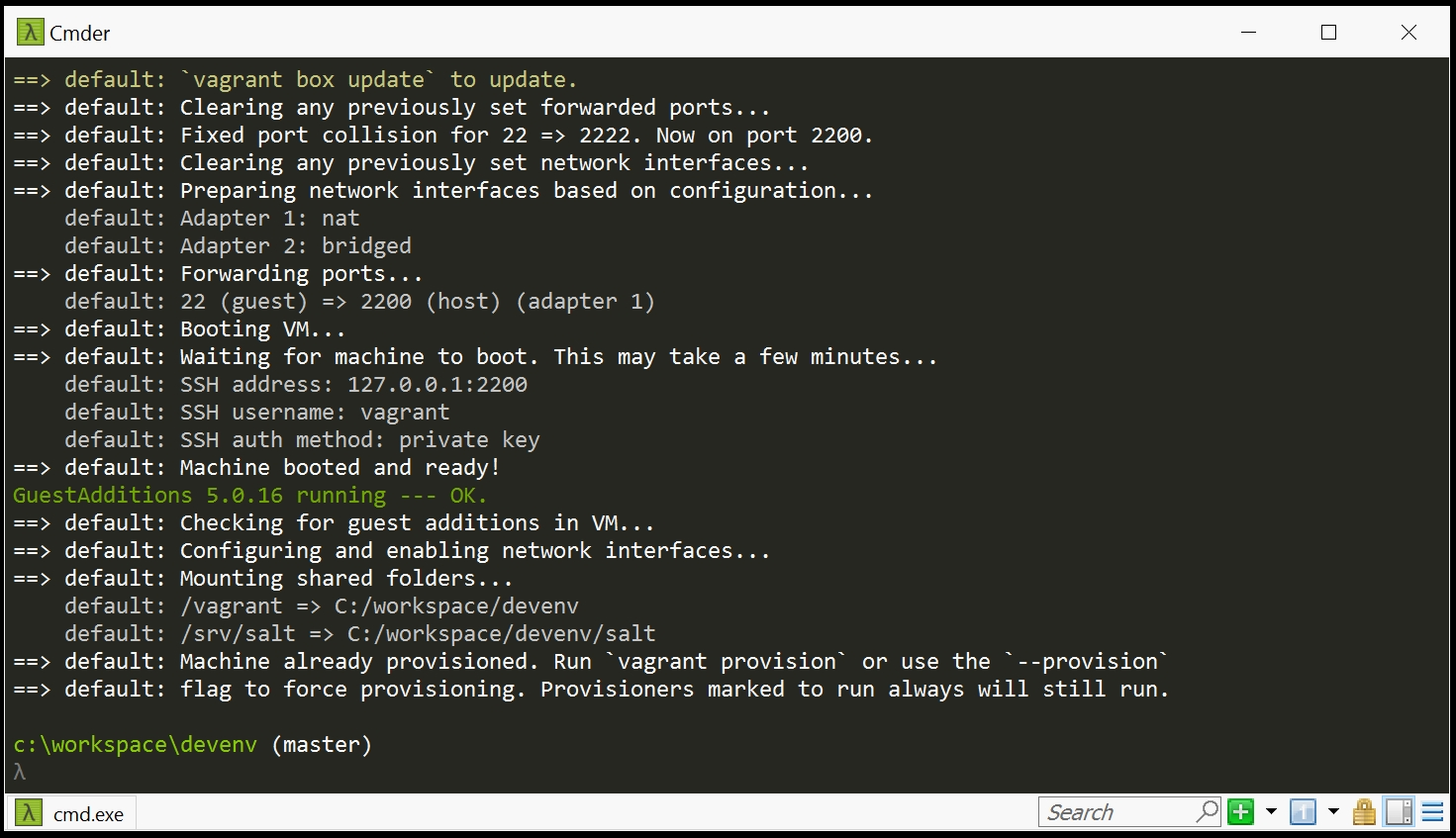 Vagrant Boot Complete Screenshot