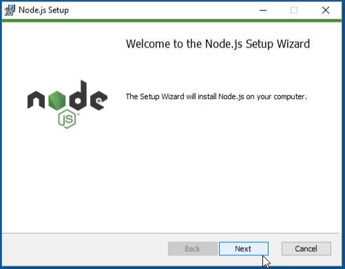 Welcome to Node.js setup wizard