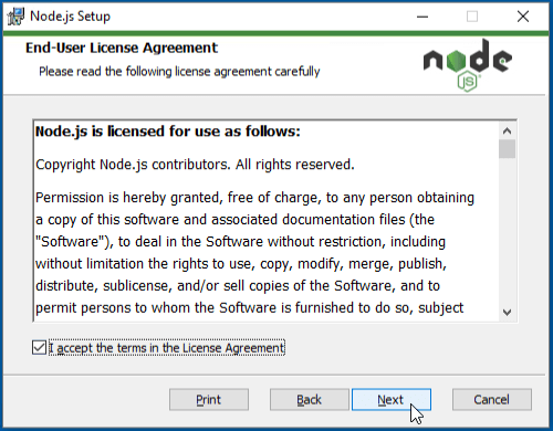 Node.js end-user license agreement