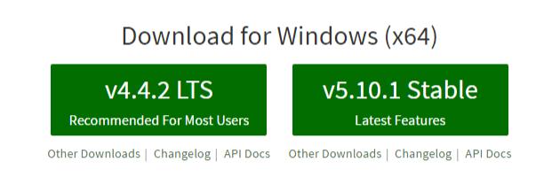 NodeJS Download for Windows (x64)