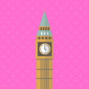 Cartoon of Big Ben against a pink background