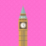 Cartoon of Big Ben against a pink background