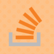 Stackoverflow logo on an orange polka-dot background