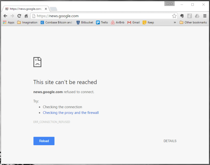 Site can't be reached