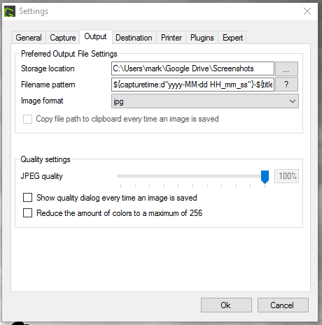 Greenshot output tab