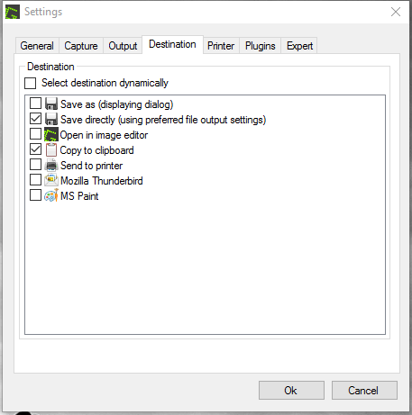 Greenshot destination settings