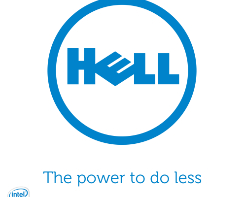 Parody of the Dell logo that spells hell