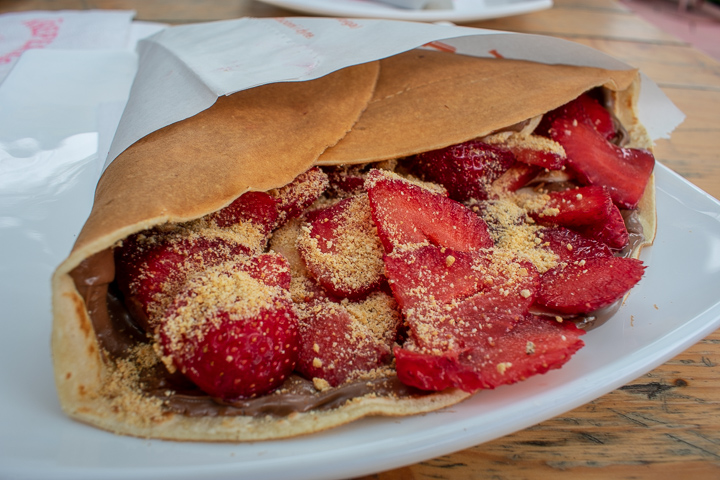 A Nutella and fruit crepe at Kreperia Hen 1-Volga Durres Albania