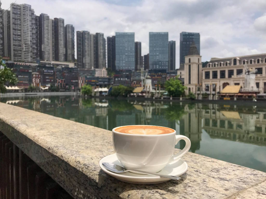 Coffee by the river in Future Ark district in Guiyang China