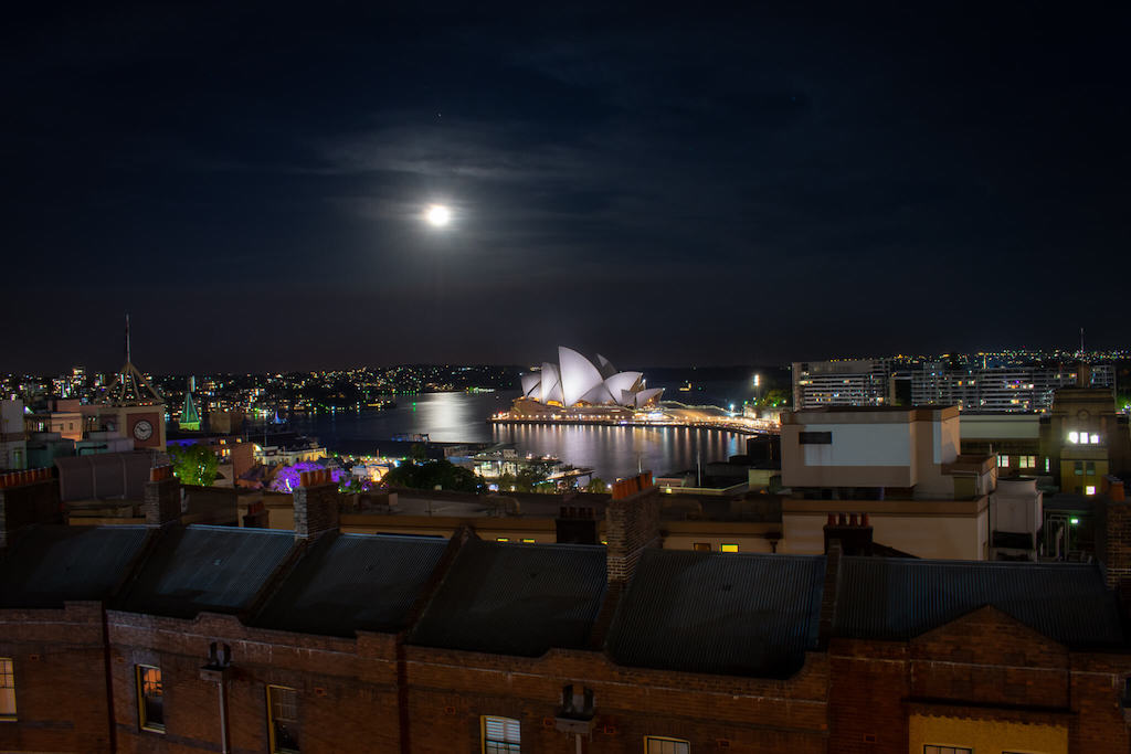 Sydney Harbour YHA view over Sydney Opera House at Night
