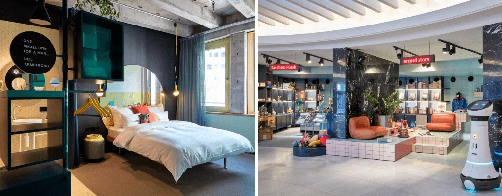 Colourfully decorated room and record store at 25hours hotel in Cologne