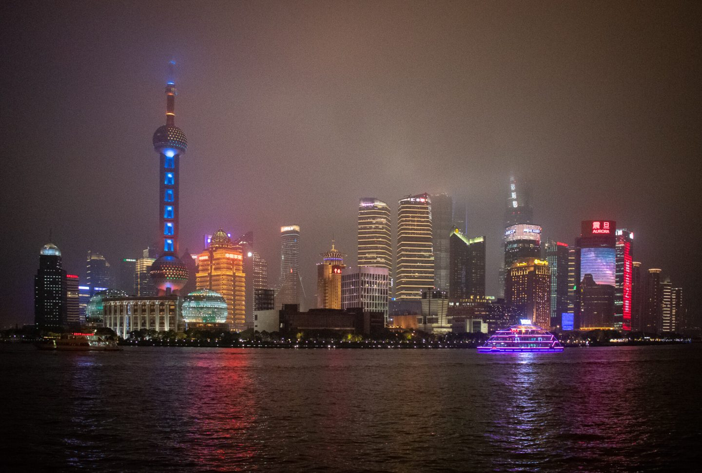View of Shanghai's skyline with Oriental Pearl Tower and other skyscrapers across the river
