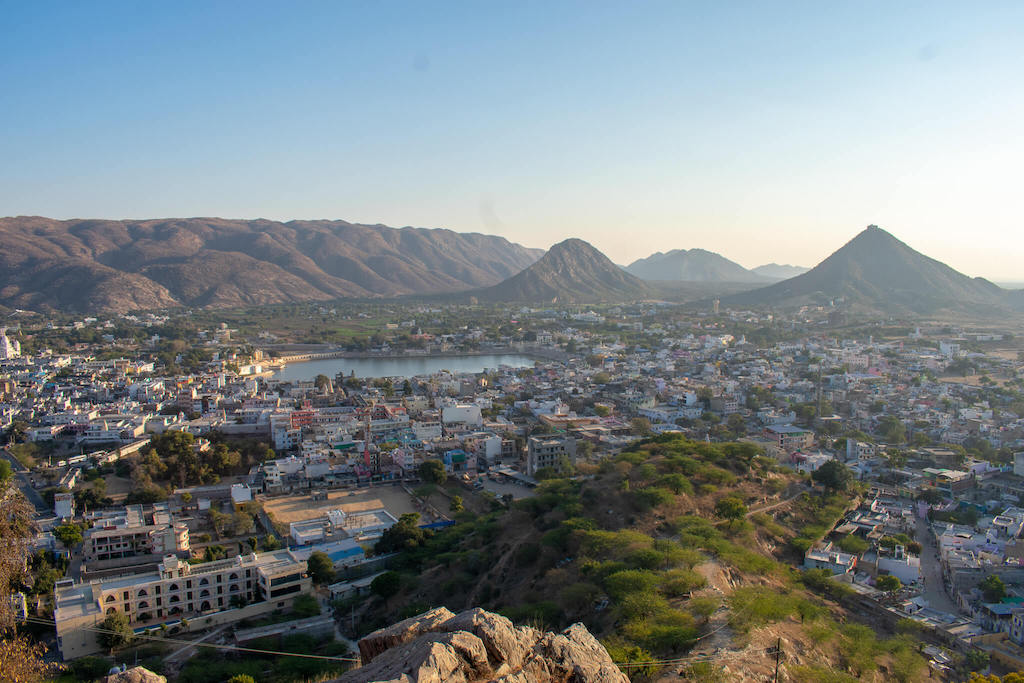 Sunset view over Pushkar in North India