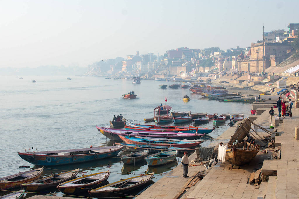 View of Varanasi and the Ganges in Northern India