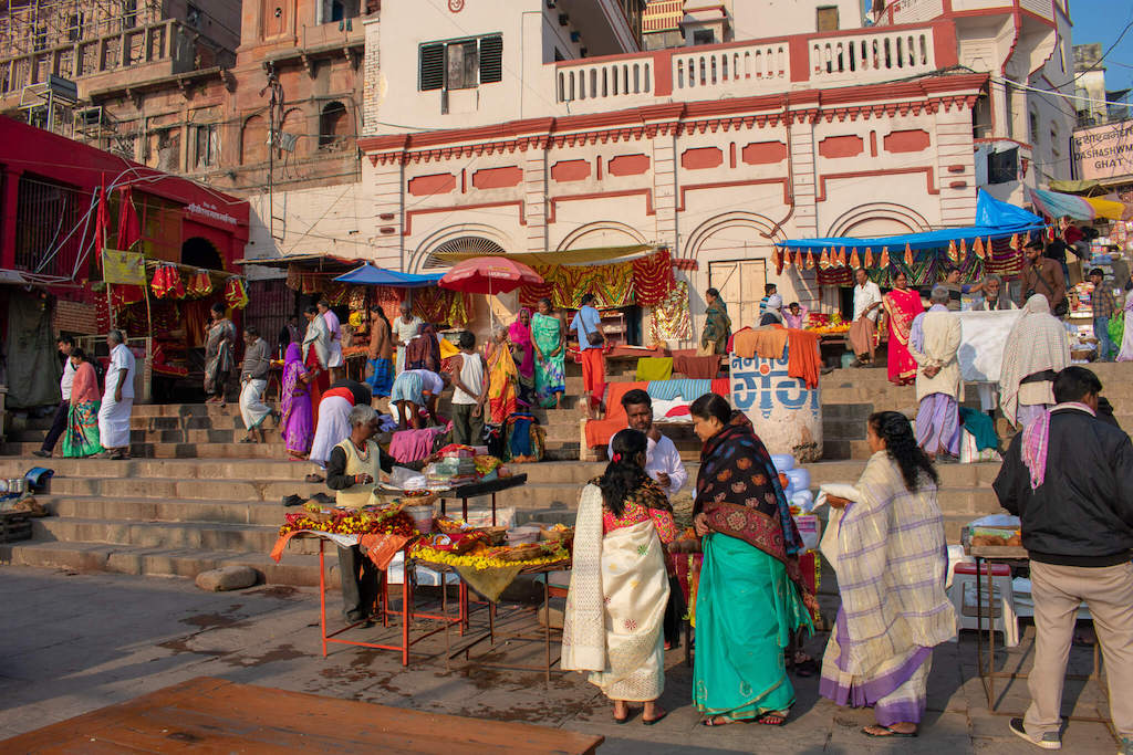 Busy and colourful street in Varanasi, North India
