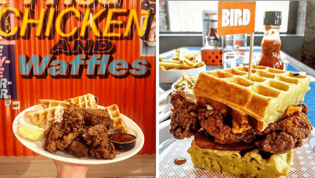 Chicken and waffles at Bird London